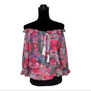 Shun Bo | Pink Floral | Girly Off the Shoulder Top